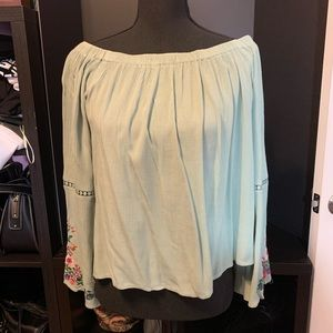 Off-the-Shoulder BoHo Embroidered Blouse - Large